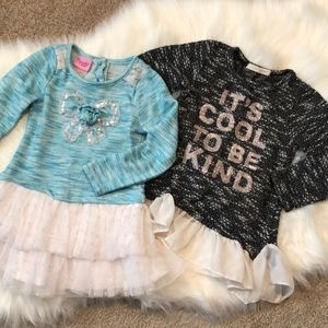 Set of 2 toddler girl frilly sweaters
